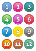 foto of number 7  - Set of coloured calendar icons with month numbers - JPG