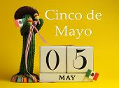Save The Date White Block Calendar For Cinco De May, May 5, With Fun Mexican Cactus And Flags Agains