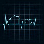 picture of beating-heart  - Heartbeat make a home and heart icon vector - JPG