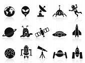 image of flying saucer  - isolated black space icons set on white background - JPG