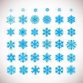 Snowflake vector Christmas holiday icons. Snow flake winter season art collection