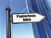 Finance concept: Papierlose Buro(german) on Building background