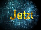 Timeline concept: Jetzt(german) on digital background