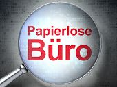Finance concept: Papierlose Buro(german) with optical glass on d