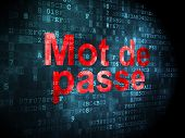 Protection concept: Mot de Passe(french) on digital background