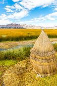 Floating  Islands On Lake Titicaca Puno, Peru, South America,thatched Home. Dense Root That Plants I