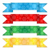 Set Of Colorful Banners With A Pattern From Snowflakes.multicolored Christmas Ribbons.vector