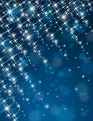 Christmas Blue Background With Brilliance Stars