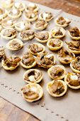 foto of canapes  - A mushroom based canape is served at a cocktail party - JPG