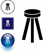 wooden stool seat symbol sign and button