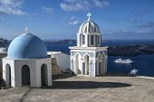 Beautiful landscape of Oia church, Santorini, Greece