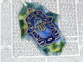 stock photo of hamsa  - Hamsa kabbalah good luck charm on Talmud - JPG