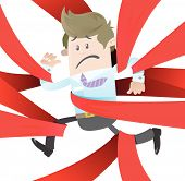 image of caught  - Vector illustration of Business Buddy clearly very distressed with the bureaucratic red tape that he - JPG