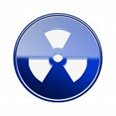 Radioactive Icon Glossy Blue, Isolated On White Background.