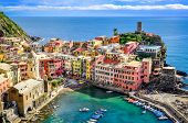 Scenic View Of Ocean And Harbor In Colorful Village Vernazza, Cinque Terre