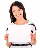 Happy woman holding a banner - isolated over white background