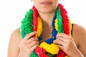 Serious Girl Wearing Party Leis