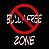 Bully free zone sign on black background