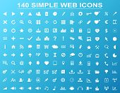 Set of 140 simple white navigation web icons