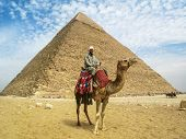 Camel Man in Front of Giza Pyramid