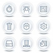 Internet security web icons, white glossy circle buttons
