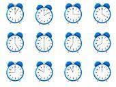 Twelve Blue Alarm Clock's