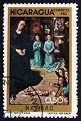 Postage Stamp Nicaragua 1983 Adoration Of The Kings, Christmas