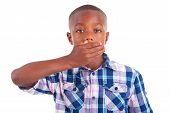 African American Boy Hiding Mouth  - Black People