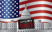 Washington Dc Capitol With We Are Closed Sign