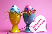 Bright And Modern Polka Dot Pink And Blue Easter Eggs In Polka Dot Egg Cups With White Heart Gift Ta