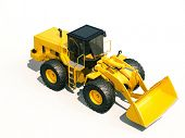 stock photo of earthwork operations  - Modern front loader on light background with shadow - JPG