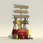 3D rendering of a snow covered directional sign and suitcases, skis, snowboard and boots