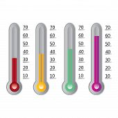 Thermometers Illustration In Colors .