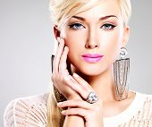 Beautiful Woman With Fashion Makeup And White Hairs