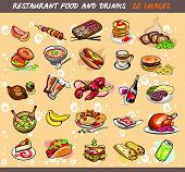 25 Food And Drink Images. Vector Illustration