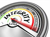 foto of integrity  - integrity conceptual meter indicate maximum isolated on white background - JPG