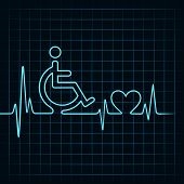 pic of handicap  - heartbeat make handicapped and heart symbol stock vector - JPG
