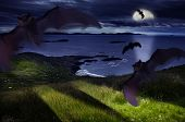 stock photo of drakula  - the Hallowen dark night with moon and light - JPG