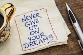 never give up on your dreams reminder - a napkin doodle with a cup of espresso coffee