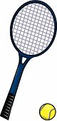 Blue Tennis Racket With Ball
