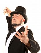 Illusionist magician with top hat
