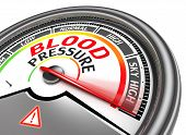 foto of pressure  - blood pressure conceptual meter indicate sky high isolated on white background - JPG