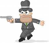 Cartoon Mafia Boss Tiptoeing
