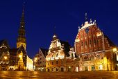 Town Hall Square At Night, Riga, Latvia