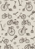 retro bicycles, seamless pattern