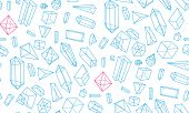 Crystals, geometric figures and diamonds seamless pattern
