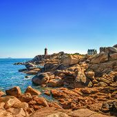 Ploumanach Lighthouse Morning In Pink Granite Coast, Brittany, France.
