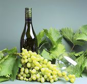 Bottle Of White Wine, Wine Glass With A Large Bunch Of Sultana Grapes And Grape Vine Leaves.