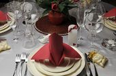 Red And White Theme Wedding Breakfast Dining Table Setting With Red Table Napkins In Bishop Style Fo