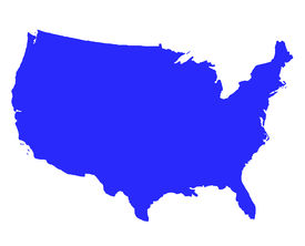 picture of united states map  - United States of America outline map in blue isolated on white background - JPG